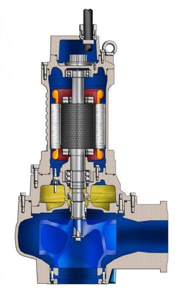 Tauchmotorpumpe mit Einkanalrad, Grauguss, Meerbronze und Edelstahl